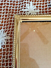 Vintage Bright Bead Edge Fan Finial Design Brass Picture Frame 8 X 10