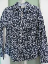 New ListingLl Bean Womens Nautical Navy Blue & White Anchors Blouse Size Xs