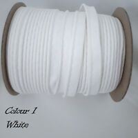 10mm White Cotton Bias Binding Tape Insertion Cord Flanged Rope Piping 2 Meters