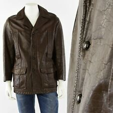 70s Vintage Dark Brown Leather Coat Mens M Grais Zip Out Liner
