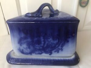Large Antique Victorian Blue And White Triangle cheese dish with lid