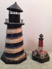 2 Lighthouses Resin and Wood Nautical Ocean Seaside Water Metal Top Blue Black