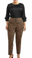 NWT TERRA & Sky Womans Plus Size 1X 16 18W Leopard Stretch Dress Pants Pull On