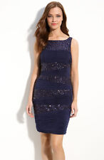 New JS Boutique Ruched Sequin Navy Blue Cocktail Dress Sz 6 New