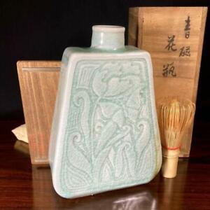 Korean Chosun Period Lee Royal Kiln Celadon Vase 李王家 美術工場 王室御庭窯  / W 14× 20[cm]