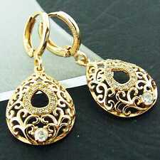 EARRINGS HOOP DROP 18K YELLOW G/F GOLD DIAMOND SIMULATED FILIGREE ANTIQUE DESIGN
