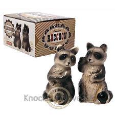 Raccoon Salt Pepper Set Ceramic Shakers Shake Dinning Table Tabletop Coon Animal