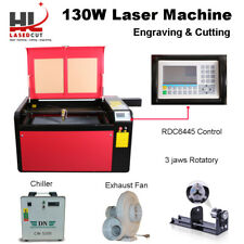 RECI 130W-160W Co2 Laser Engraving Cutting Machine CW5200 Chiller Rotary Axis