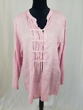 CP Shades women M pink long sleeve linen shirt tunic lagenlook