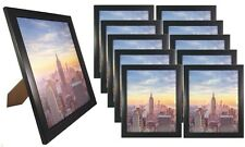 Frame Amo 8x10 Black Wood Picture Frame Glass Front, Wall or Table 1, 3, 10 PACK