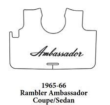 1966 AMC Ambassador Cpe / Sdn Trunk Rubber Floor Mat Cover w/ A-003 Ambassador