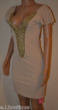 VICKY MARTIN nude beige gold diamante plunge low cleavage mini dress BNWT 8 10