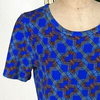 LULAROE Womens Dress AMELIA Fit And Flare POCKETS Blue GeOmEtRiC I Medium