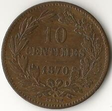 LUXEMBOURG 10 Centimes 1870, KM23.1, Bronze, dot above BARTH