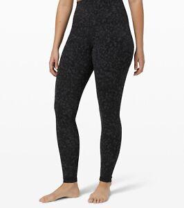 Lululemon Leggings Jogging Sports Pants Women Female Grey Cheetah Print 06 & 08