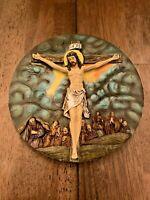 Vintage INRI Jesus On Cross Decorative Plate Decor - 7x7