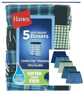 Hanes Boys' Boxers Tagless 5 Pack Cooling Comfort Flex Waistband Plaid