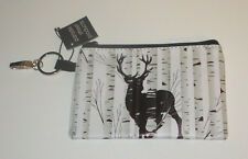 Deer in Forest Coin Purse Pouch Trees Woodland Buck Key Ring Clip New