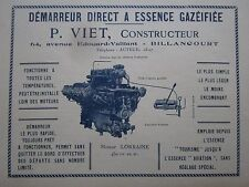 3/1926 PUB P VIET DEMARREUR A ESSENCE MOTEUR AVIATION LORRAINE 450 CV ENGINE AD