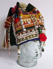 Vtg Tibet Silver Beaded Coin w Scarab Beetles Head Dress HAT Folk Art Hand Made