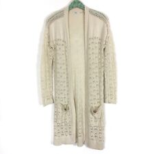 Kimchi Blue Open Front Cardigan Small Crochet Ivory Long