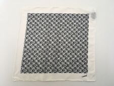 Lanvin White & Black Geometric Silk Pocket Square Made In Italy NWOT