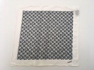 Lanvin White & Black Geometric Silk Pocket Square Made In Italy NWOT