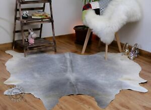 Genuine Cowhide rug Gray5x6 ft New Cow hide skin Hair on Grey Leather area rug