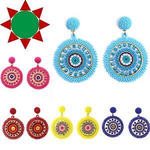 Handmade Beaded Bright Neon Colorful Post Round Earrings for Women All Season