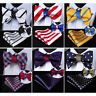 HISDERN Striped Double Side Men Woven Silk Self Bow Tie handkerchief Set#RU1
