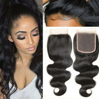 4x4 Lace Front Closure Brazilian Virgin Real Human Hair Deep Wave Hair Parting