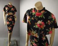 Black Floral Print High Neck Capelet Collar Party Pencil Midi 249 mv Dress S M L
