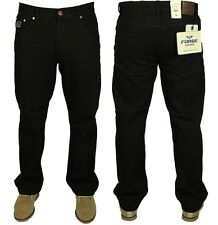 MENS  FORGE JEANS CASUAL WORK WEAR BLACK PANTS PLAIN SIZES 30 TO 60 RRP £19.99
