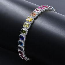 Rainbow Color 18K White Gold Tone Simulated Diamonds Unisex Solitaire Bracelet