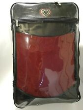 Brighton Ruby Red Jacquard Black Leather Luggage Set Clear Cover  Computer Bag