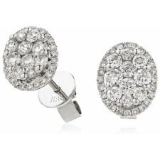 0.80ct F VS Brilliant Cut Genuine Diamond Oval Shape Earrings in 18ct White Gold
