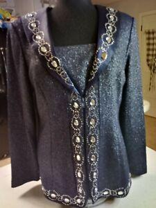 Donna Vinci Knits Large Rhinestones Embellished VINTAGE Blazer Size 10 Navy Blue