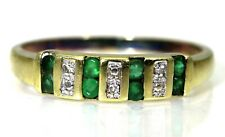Natural Emerald & Diamond 9ct Yellow Gold Stacking ring S ~ 9 1/4
