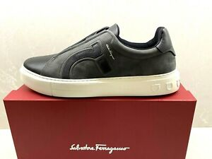 $630 New Salvatore Ferragamo Gray Suede Leather Slide On Sneaker Shoes US 11