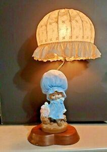 Holly Hobbie Strawberry Shortcake Flower Basket Chalkware Lamp w/ Orig Shade