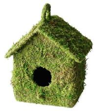 Moss Fuzzy Green 8x6 Wood Bird House w/ Hanging Hook On Top