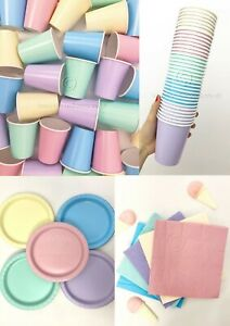 Beautiful Balloons Ice Cream Pastel Rainbow Party Kit! Cups, napkins and plates!