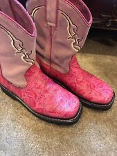 Justin Cowgirl Boots; Vibrant Hot Pink; Size 7.5B; Leather/suede/comfortable
