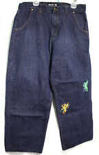 Fosho' Premium Collection Mens Size 38(40)x29 Jeans Painted Dragons Dark Blue