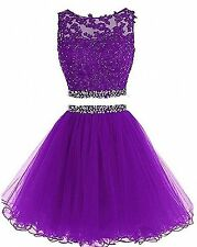 2017 New Short Party Prom Dresses 2 Piece Plus Size Homecoming Dresses