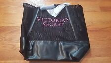 NWT Victoria's Secret Faux Leather and Mesh Black Tote Bag