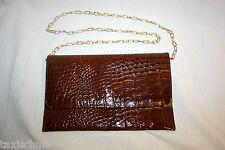 Original 70er Jahre Brieftasche Tasche Schultertasche Kette Kroko Braun Gold