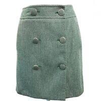 Ann Taylor Loft Green Tweed Button Down Knee Length A Line Wrap Skirt Womens 8