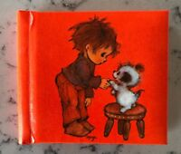 Vintage Hallmark Orange Photo Album Flip Book Boy And Dog Mary Hamilton 1973