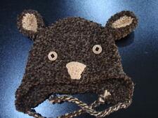 Teddy earflap hat handknit unisex adult chunky brown acrylic Valentines warm